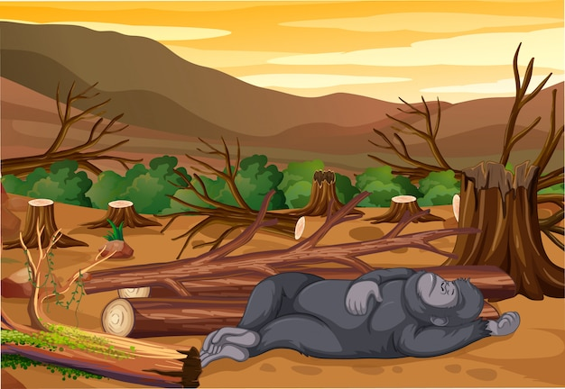 Scene with dying monkey and deforestation Free Vector