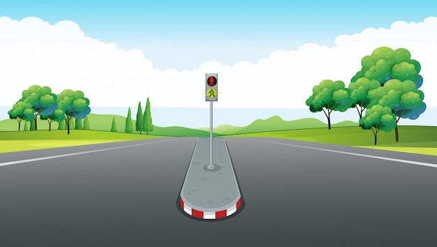 Scene with empty road and traffic light Free Vector