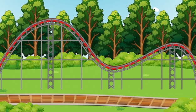 Scene with empty roller coaster track in the park illustration Free Vector