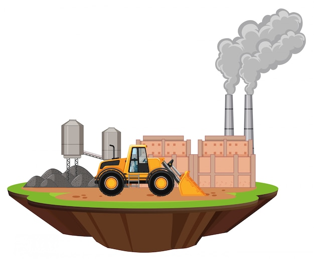 Scene with factory buildings and bulldozer on the site Free Vector