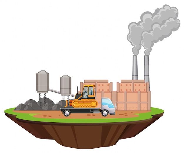 Scena con capannoni e bulldozer sul sito Vettore gratuito