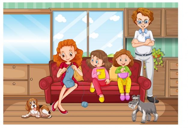 家族で家で楽しい時間を過ごすシーン 無料ベクター