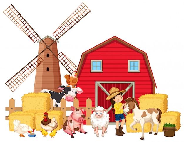 농부와 많은 농장 동물과 현장 프리미엄 벡터