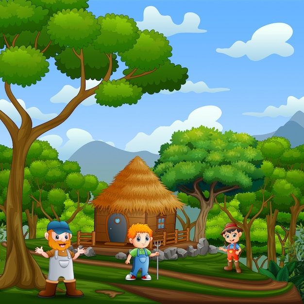 Scene with the farmers and wooden cottage in the forest Premium Vector