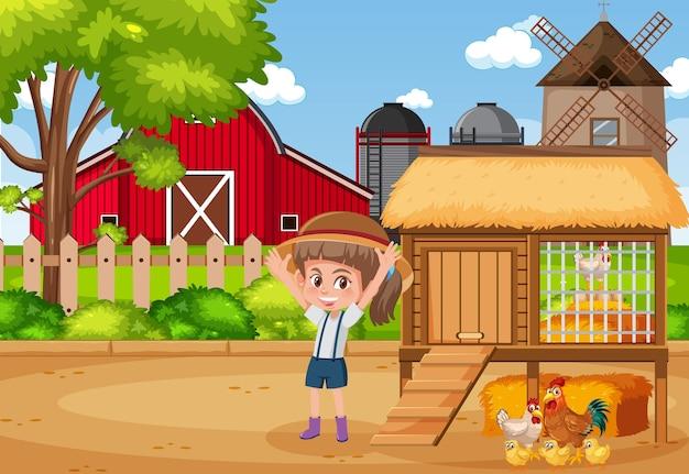 Scene with farmgirl and chickens on the farm Premium Vector