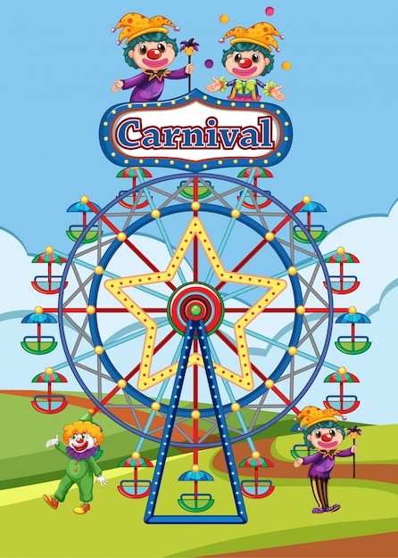 Scene with ferris wheel and clowns in the park illustration Free Vector