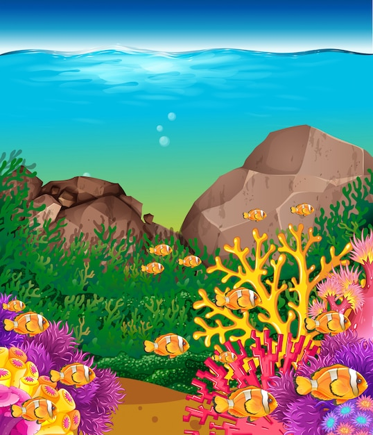 Scene with fish under the ocean background Free Vector