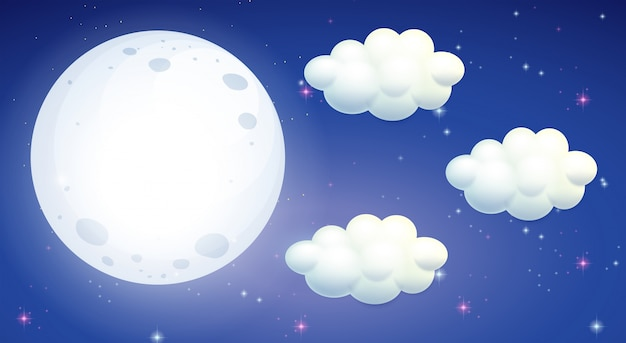 Scene with full moon and clouds Free Vector