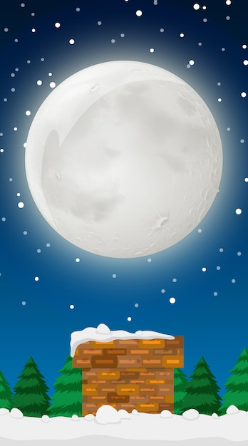 Scene with full moon in winter Free Vector