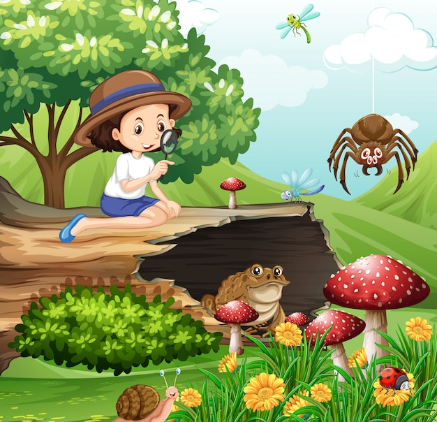 Scene with girl looking at insects in the garden Free Vector