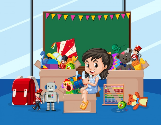 Scene with girl and many toys in the room Free Vector