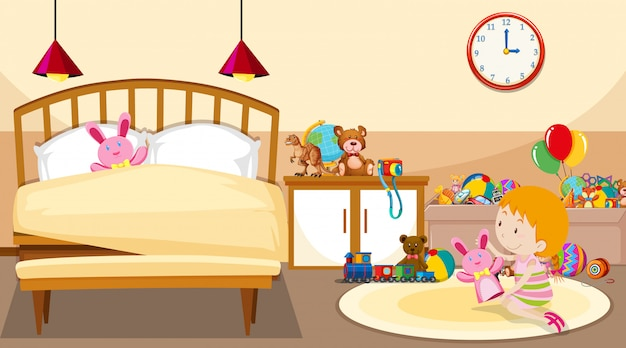 Scene with girl playing in the room Free Vector