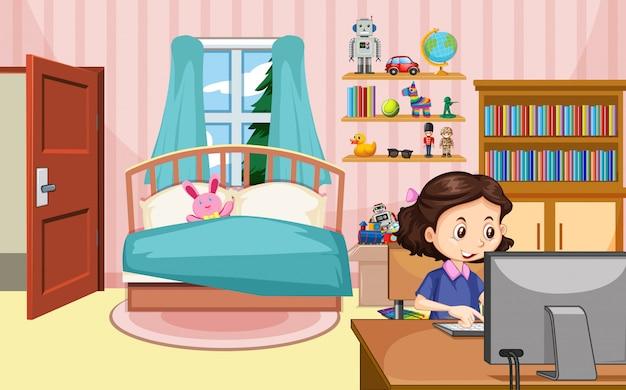 寝室のコンピューターに取り組んでいる女の子とのシーン 無料ベクター