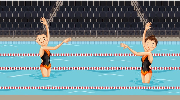 Scene with girls doing water synchronized dance in the pool Free Vector