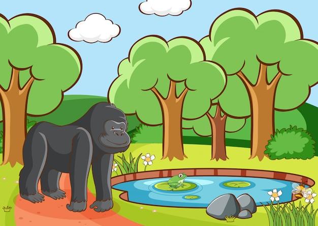 森のゴリラのシーン 無料ベクター