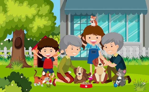 祖父母と庭で子供たちとのシーン Premiumベクター
