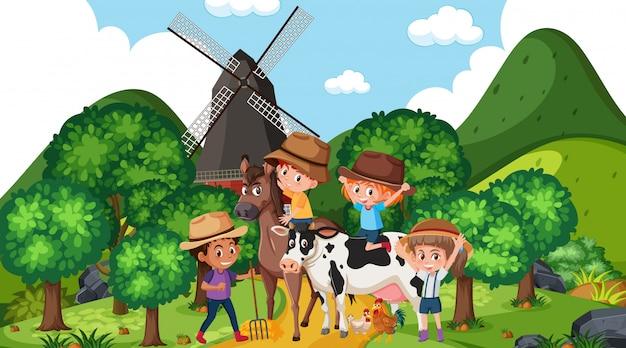 Сцена со счастливыми детьми и животными в парке Premium векторы