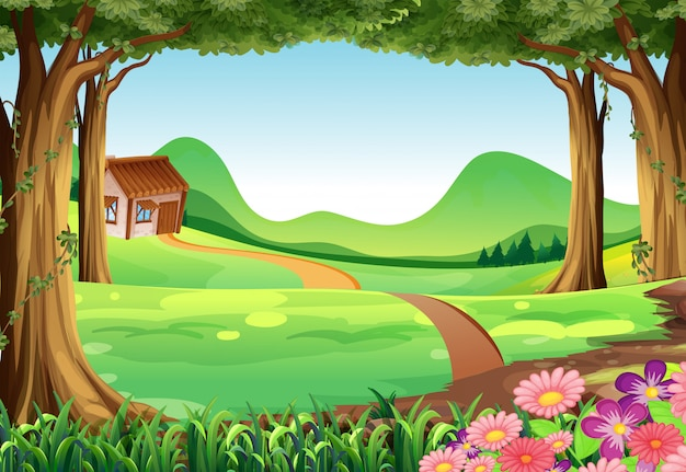 Scene with house in the field Premium Vector