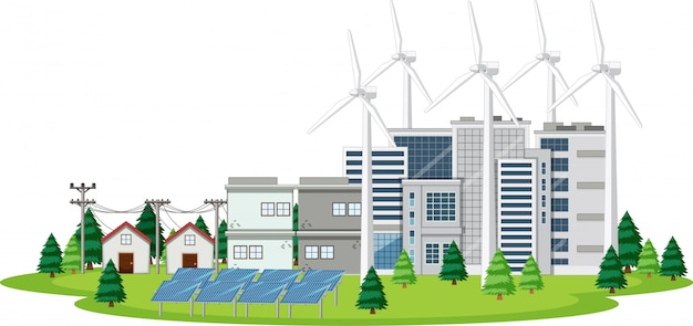 Scene with houses and clean energy Premium Vector