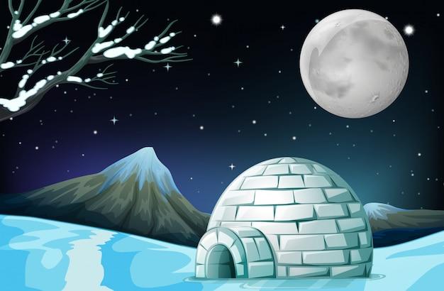 Scene with igloo on fullmoon night Premium Vector