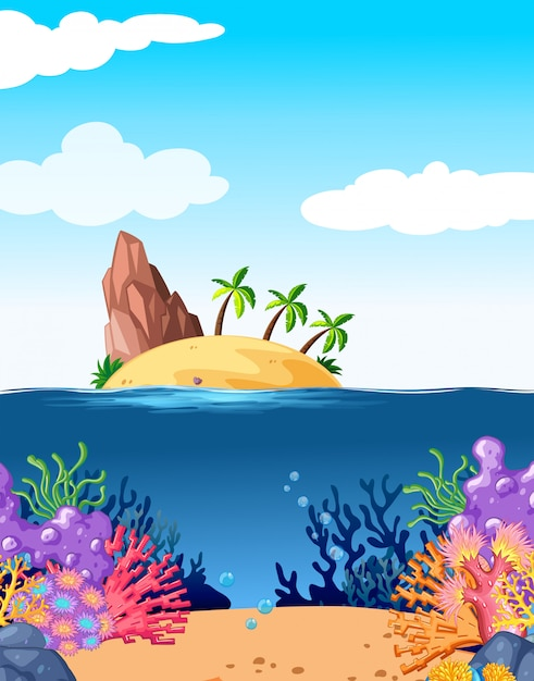 Scene with island and coral underwater Free Vector