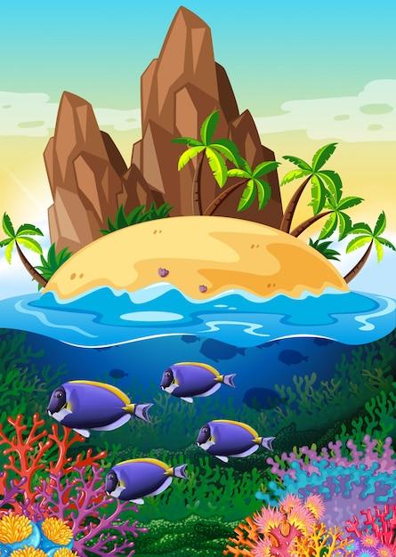 Scene with island and life underwater Premium Vector