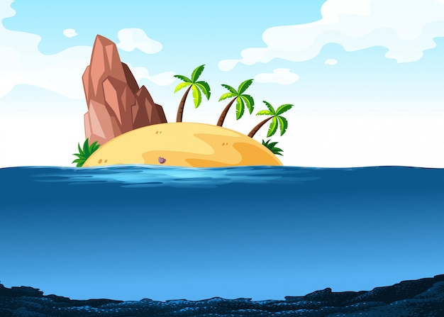 Scene with island on the ocean Free Vector