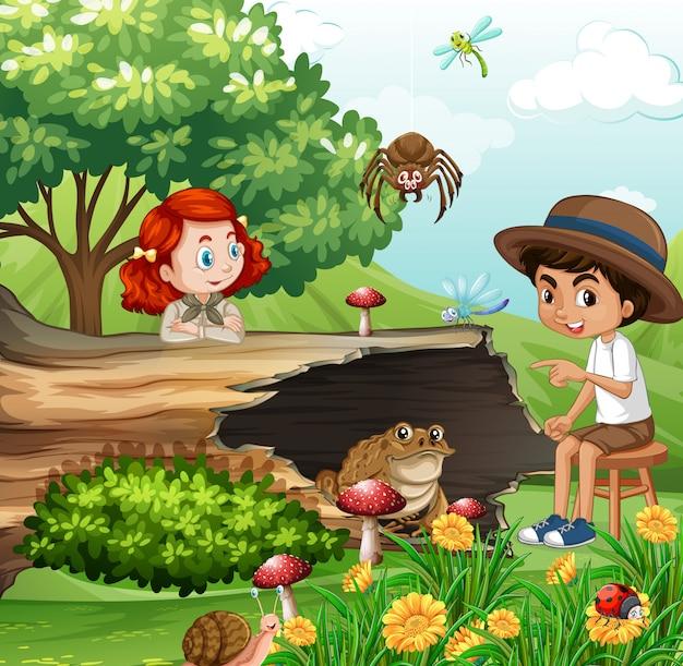 Сцена с детьми и животными в саду Бесплатные векторы