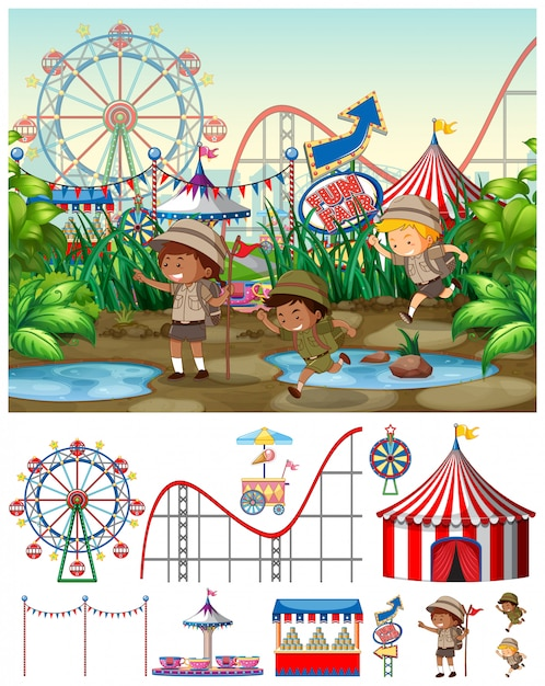 Scene with kids at the carnival Free Vector