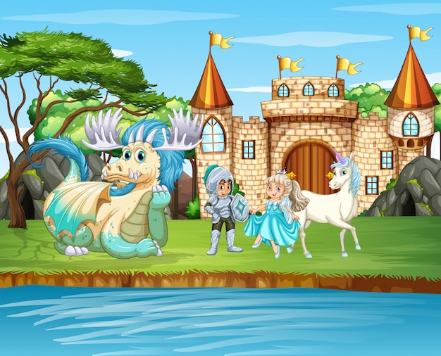 Scene with knight and princess at the castle Free Vector