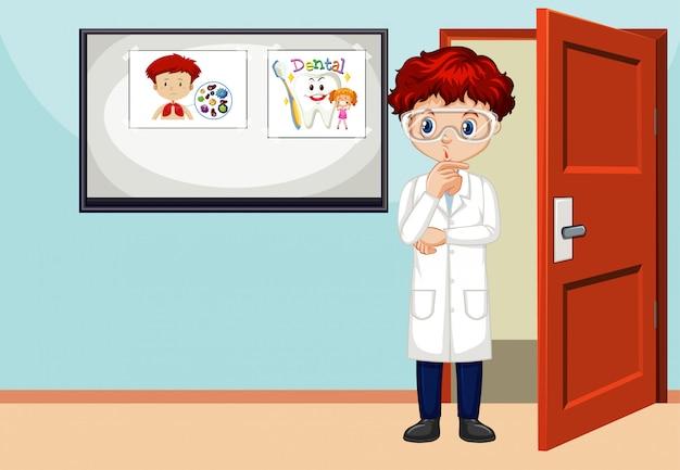 Сцена с мужчиной-ученым, стоящим в комнате Бесплатные векторы