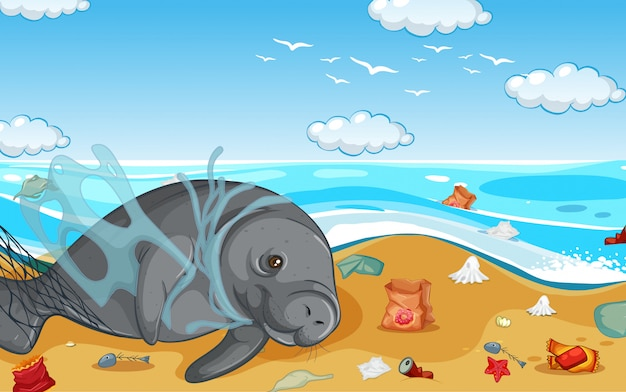 Scene with manatee and plastic bags on the beach Free Vector