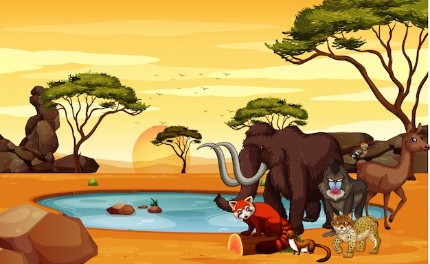 Scene with many animals in the field Free Vector