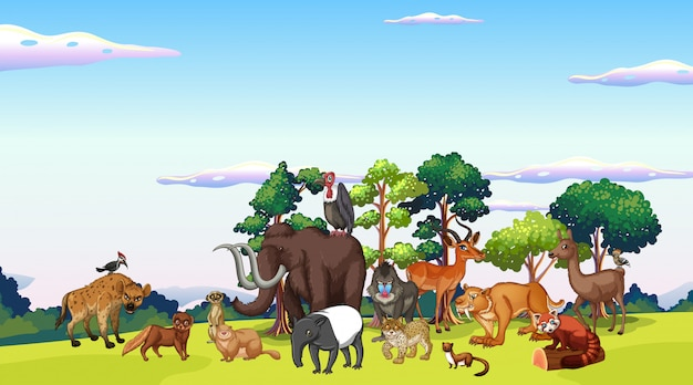 Scene with many animals in the park Free Vector