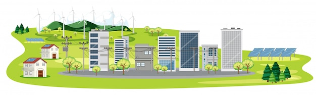 Scene with many buildings and solar cells Free Vector