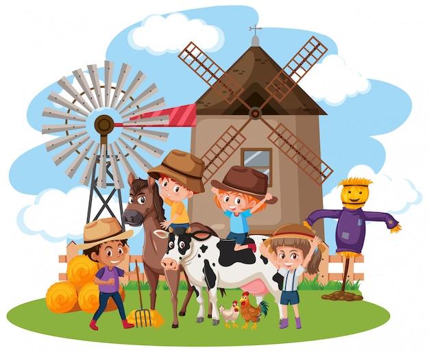 Сцена со многими детьми и животными на ферме Premium векторы