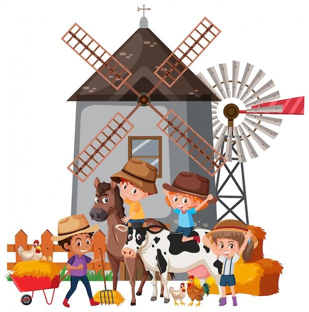 Сцена со многими детьми и сельскохозяйственными животными Premium векторы
