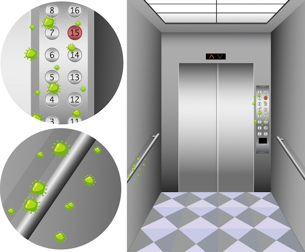 Scene with many coronavirus cells on buttons in elevator Free Vector