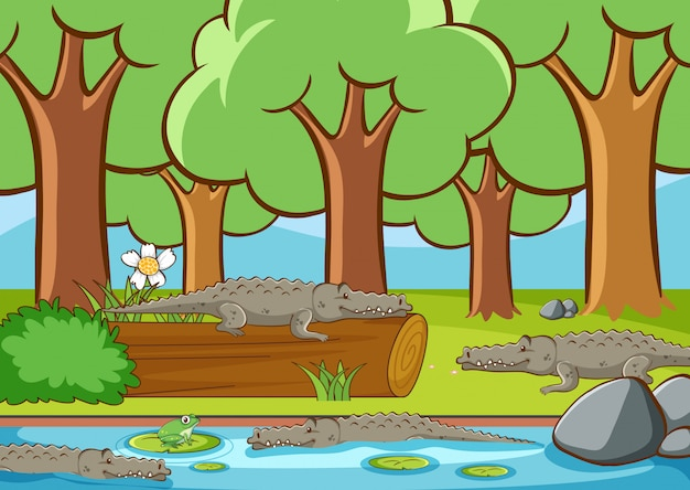 Scene with many crocodile in the forest Free Vector