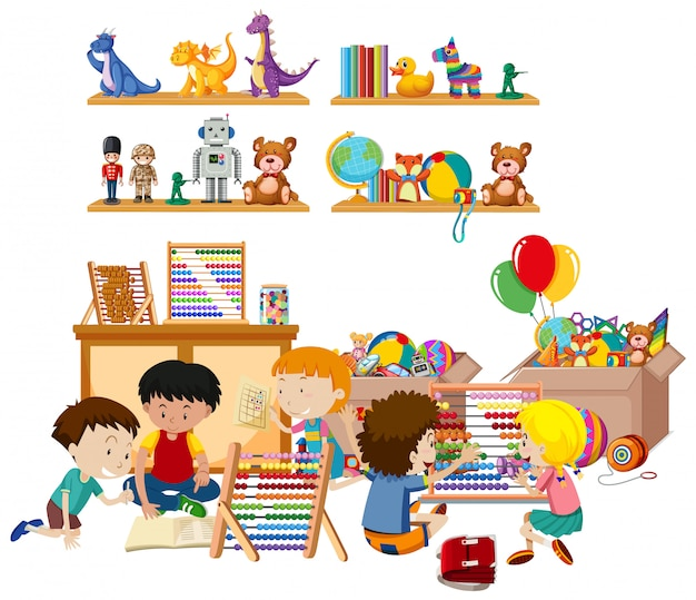 Scene with many kids playing toys in the room Free Vector