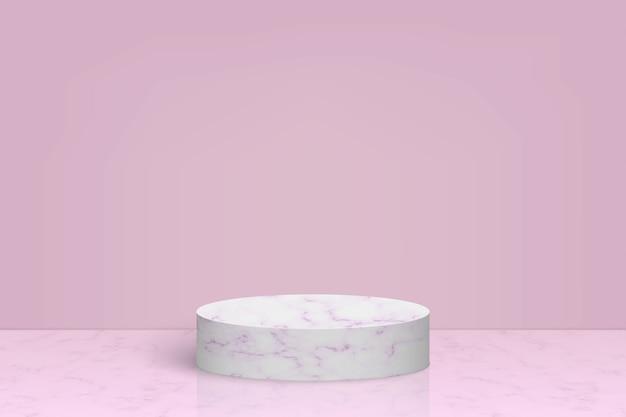제품 발표를위한 대리석 돌 연단이있는 장면 프리미엄 벡터