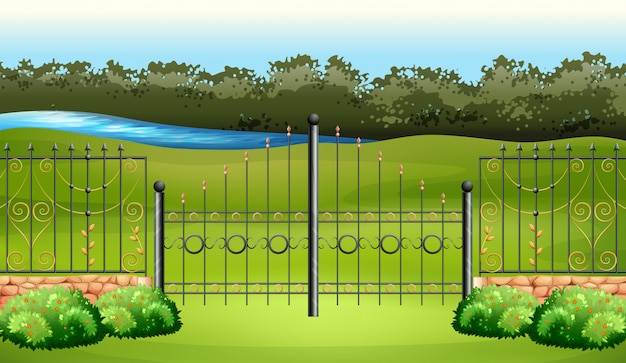 Scene with metal fence in the garden Free Vector