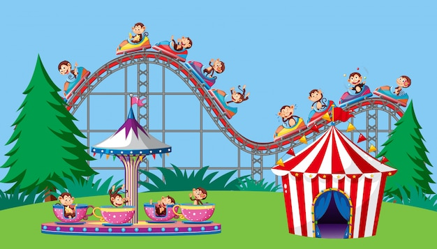 Scene with monkeys on circus ride in the park Free Vector