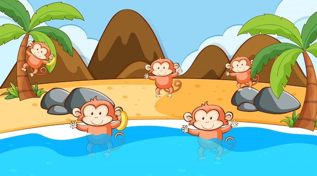 Scene with monkeys in the sea Free Vector
