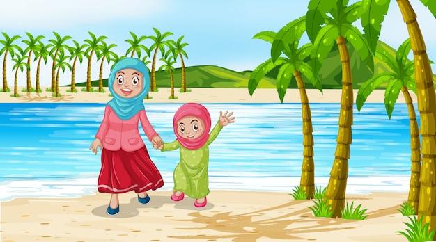 母と娘のビーチでのシーン 無料ベクター