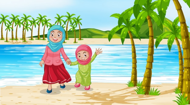 Scene with mother and daughter on the beach Free Vector