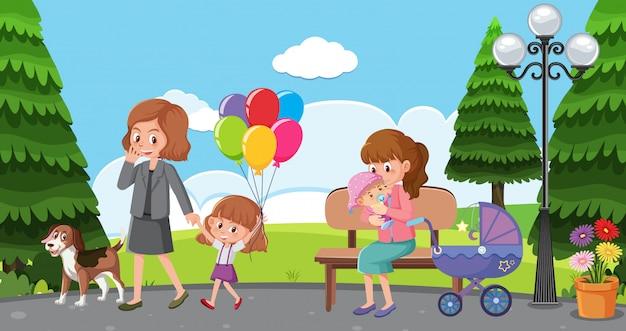 Сцена с мамами и детьми, отдыхающими в парке Premium векторы