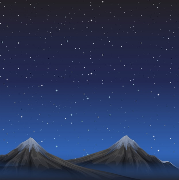 Scene with mountains at night background Free Vector