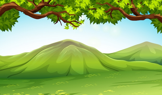 Scene with moutains and trees Free Vector