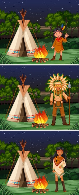 Scene with native american indians at campground Free Vector